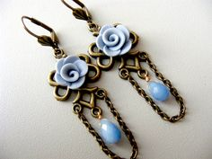 Old blue rose long earrings,chandelier earrings, drop dangle earrings, boho victorian knot, celtic chain bronze,polymer clay flower