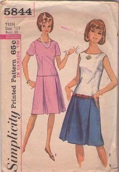 MOMSPatterns Vintage Sewing Patterns - Simplicity 5844 Vintage 60's Sewing Pattern SASSY Mod Drop Waist, Contrast Top Pleated Skirt Day Dress, Twiggy