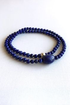 Genuine Lapis Lazuli Bracelet, Royal Blue Gemstone Jewelry, Stetchy Double Wrap Strand