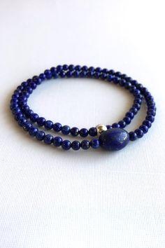 Genuine Lapis Lazuli Bracelet, Royal Blue Gemstone Jewelry, Stetchy Double Wrap Strand