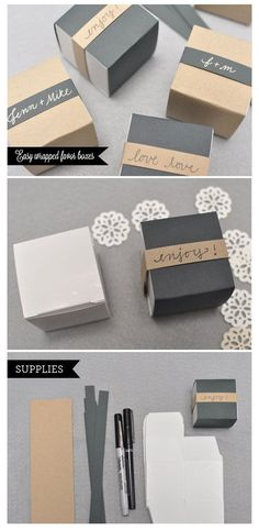 Easy favor boxes -- could use white or pink instead of brown