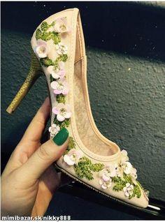 Krásne lodičky s kvetmi REALNE FOTO