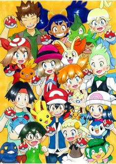 Ash Ketchum and Pikachu with all of their friends ^.^ ♡