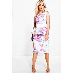 Boohoo Plus Plus Arabella Floral Peplum Midi Dress (2,015 DOP) ❤ liked on Polyvore featuring dresses, multi, floral midi dress, white bodycon dress, maxi dresses, white maxi dress and white dress