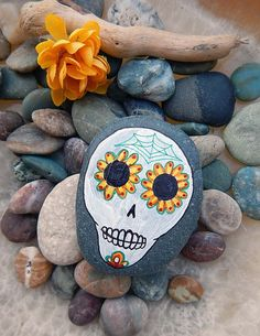 Day of the Dead Sugar Skull Painted Beach Stone