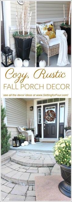Looking for new ideas to decorate your front porch for Fall? Come see my COZY RUSTIC FALL PORCH Decor with lots of DIY home decor ideas to add beautiful curb appeal to your home! Easy fall decorating ideas for using pumpkin decorations, fall planters, mum