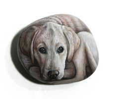 Labrador dog hand painted with Acrylics on stone Detailed