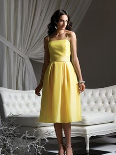A-line Spaghetti Straps Yellow Satin Belt Tea-length Bridesmaid Dress at Millybridal.com