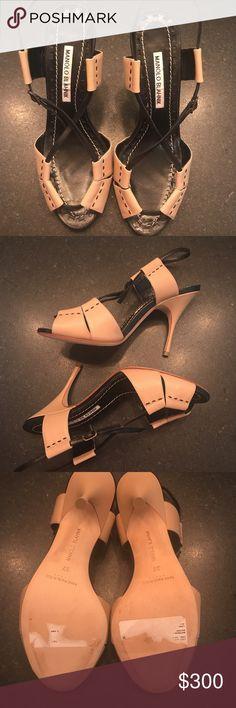 Manolo Blahnik Leather Sandals Black and Tan leather sandals. Never worn. Leather interiors and heels. Manolo Blahnik Shoes Heels