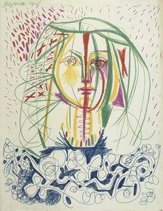 """Pablo Picasso - """"Portrait de Françoise 1"""" 1946"""