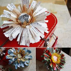 paper flowers -- i like this idea for decorating homemade wrapping paper