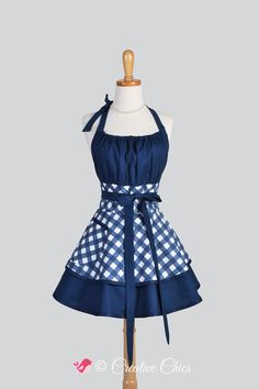 Flirty Chic Apron , Sexy Womens Apron in Navy Blue and White Bias Gingham by CreativeChics #creativechics #aprons #michaelmillerfabrics