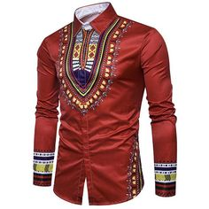 Enjoybuy Mens Shirts Dashiki Button Down Slim Fit Shirt African Ethnic Printed Long Sleeve Dress Shirt African Shirts For Men, African Clothing For Men, African Men Fashion, Dashiki Shirt, African Attire, African Wear, Fashion Mode, Mens Fashion, Fashion Tips