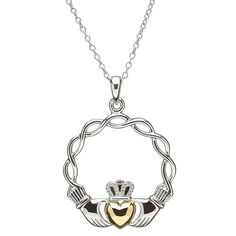 Celtic Wave Claddagh Necklace by Shanore Jewelry Model, Modern Jewelry, Irish Jewelry, Claddagh Rings, Irish Celtic, Circlet, Pendants, Pendant Necklace, Sterling Silver