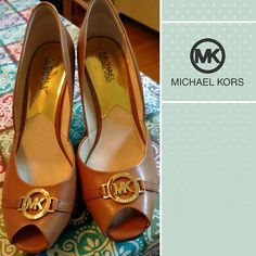 Michael kors leather peep toes sz 9.5 Beautiful leather wedge peep toes by Michael kors. Like new. Worn once for short time. Well made and fabulous! Size 9.5 Michael Kors Shoes Heels