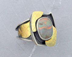 Oxidized silver 18K gold, boulder opal