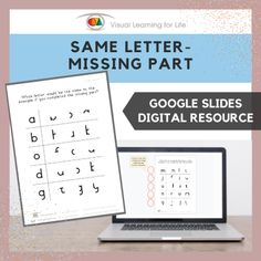 This digitally interactive resource is designed for use with Google Slides. This resource contains 10 slides in total. Answer sheets are included.The student must identify which letter would be the same as the example if it were completed, and drag the red circle to the correct answer.