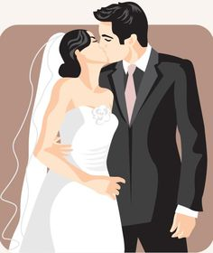 A complete set of beautiful wedding vectors that can be used to create special invitations or a memories album. Cartoonish bride and groom vector cards 3 E