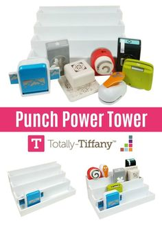 Punch Organizer Punch Power Tower, with the Totally Tiffany Desk Maid 4 Level Stadium Arranger ideal for organizing punches for card making and scrapbooking Craft Room Shelves, Craft Room Organisation, Scrapbook Organization, Organization Hacks, Punch Storage, Craft Paper Punches, Power Tower, Creative Memories, Scrapbooks