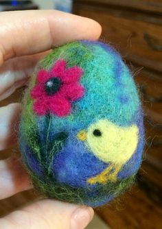 OOAK Needle Felted Easter Egg with Baby Chick by thefeltedcottage