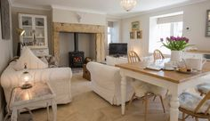 romantic cottages near Bamburgh in Northumberland, cosy little cottages for 2 pet friendly with a real fire in Northumberland Shabby Chic Living Room, Shabby Chic Furniture, Cottage Interiors, White Interiors, Inglenook Fireplace, Little Cottages, Home Board, Cottage Style Homes, Houses