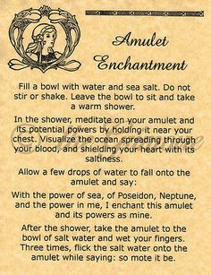 Amulet Enchantment page for Book of Shadows, Real Witchcraft Spell, Wicca Poster