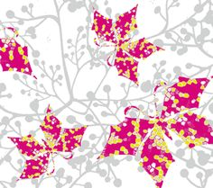 The Bartl Studio. Butterflies, fuchsia and grey. This is a very girly print.