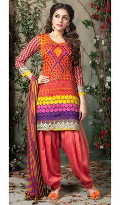 Punjabi Style Plum-S Neon Red Color Cotton Print Patiala Salwar Suits