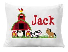 Farm Pillow Case , Boys Farm Pillowcase, Personalized Pillow Case, Farm Bedding by TheTrendyButterfly on Etsy Personalized Gifts For Kids, Personalized Pillow Cases, Monogram Pillowcase, Butterfly Images, Party Items, Goodie Bags, Graduation Gifts, Boy Or Girl, Bed Pillows