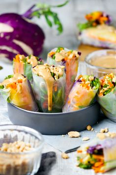 Raw rice paper wraps and satay sauce   www.planticize.com