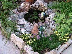 pond Source by Brendandalmond Small Backyard Ponds, Ponds For Small Gardens, Small Ponds, Diy Garden, Garden Ponds, Pergola Design, Gardening, Water Features, Creative