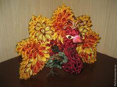 Жар-птица и павлин в технике канзаши - Ярмарка Мастеров - ручная работа, handmade