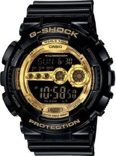 Casio Mens G-Shock Black Resin Digital Strap Gold Tone Watch GD100GB-1