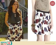 Zoe's leaf print skirt and bead detail top on Hart of Dixie.  Outfit Details: https://wornontv.net/23480/ #HartofDixie