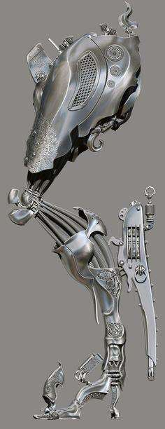 amazing anatomy imagined mechanically, in digital by Spyridon Boviatsos or Dajjal @ ZBrushCentral 988989 Zbrush, Cyberpunk, Robot Design, Cg Art, Mechanical Design, Art Graphique, Dieselpunk, Character Design, 3d Character