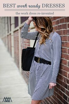 43266e9253211 The Motherchic wearing a striped shirt dress for work. Workwear  re-invented. Striped