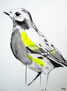 Zijn het de zachte kleuren, de fijne lijnen of val ik gewoon voor die grappige vogels? door Maartje van den Noort