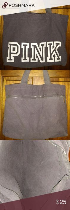 """Victoria's Secret weekender tote bag Gray Victoria's Secret weekender tote bag  Gray With PINK In White Zip-Top Closure Outside Back Zipper Pocket  Approx. Measurements 18"""" Length 14.5"""" Height 5"""" Wide 9.5"""" Drop Handles  Gently Used Victoria's secret pink Bags Totes"""