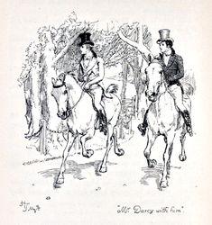 """Mr Darcy with him"" - Mr. Darcy and Mr. Bingley. Austen, Jane. Pride and Prejudice. London: George Allen, 1894."