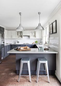 Kitchen: Rustic Pendant Lights For Contemporary Kitchen With White And Gray Cabinets Combination Using Wooden Floor Plans , Gray Kitchen Cabinets, Kitchen Decorating Idea | InteriorDesignFuture.com