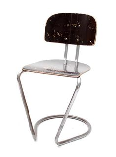 Tubular chair with black lacquered plywood seat and back design Th.W. de Wit executed by E.M.S Eerste Mechanische Stoelenfabriek Overschie Rotterdam / the Netherlands 1930 - 40