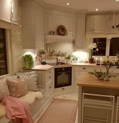 "Fantastic Photographs Shabby Chic Kitchen remodel Ideas With the phrase ""cheap chic"" the primary things that spring season to mind are usually upset, retro, old although t Cozy Kitchen, Shabby Chic Kitchen, New Kitchen, Kitchen Decor, Kitchen Country, Kitchen Ideas, Small Country Kitchens, Kitchen Seating, Scandinavian Kitchen"
