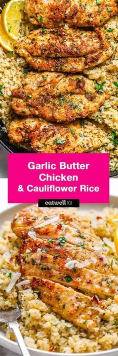 Garlic Butter Chicken with Parmesan Cauliflower Rice - Crispy, soft and SO delish! Perfect for when you want to come home to a delicious gluten-free, low carb dinner.