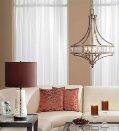 An elegant transitional crystal chandelier by Possini