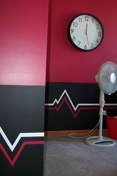 Pulse design painted on Chicago Bulls themed room.