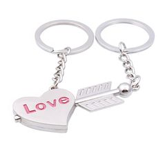2pcs Split Angel Cupid Arrow Love Heart Key Chain Ring Set Silver Alloy Gift for Lover Husband and Wife ** A special product just for you. See it now! : Valentine Gifts