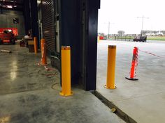 Australian Bollards - High Impact Energy Absorbing Bollards installed at a warehouse in Truganina, VIC.  http://www.australianbollards.com.au/Catalog/high-impact-bollards