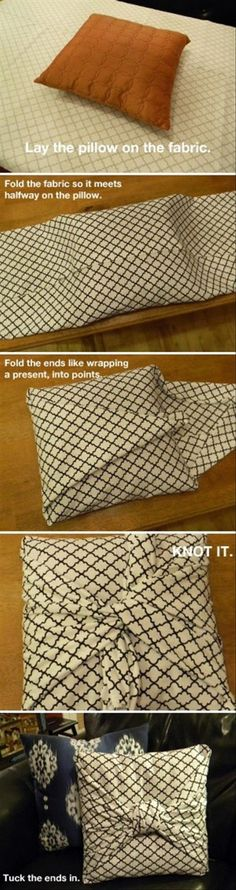 Eine schöne Lösung um, z.B. aus Stoffresten, dekorative Kissenbezüge ohne Nähmaschine zu machen.  Diy home decor on a budget ! 19 Great DIY Tutorials for Home Decoration - Pillow cover