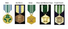 Commendation Medal Joint Sevices, Commentation Medal Air Force, Commendation Medal Army, Commendation Medal Navy/Marine Corp and Commendation Medal Coast Guard