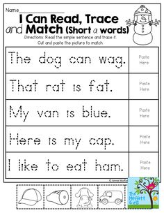 I Can Read, Trace and Match Short a words! TONS of hands-on and effective printables!
